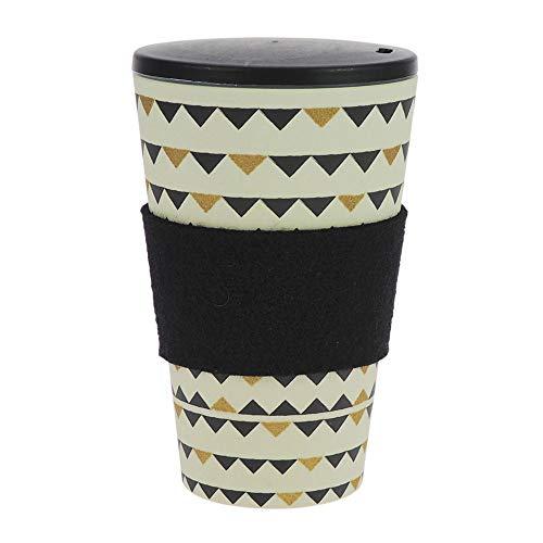 Taza de café para llevar de ebos hecha de bambú, con tapón de rosca, anilla de fieltro lana, taza para beber, respetuoso con el medio ambiente, apto para lavavajillas (Fiesta en el jardín Negro y Oro)