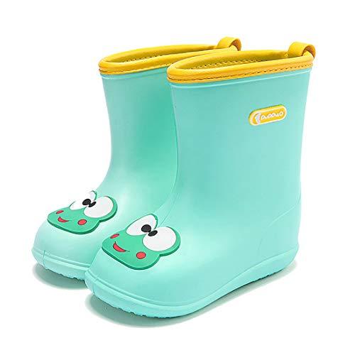 bebé de Goma para niños Botas de Agua Impermeable y Antideslizante Caucho de EVA de Lluvia para Niños y Niñas(22/23EU,Green Frog)