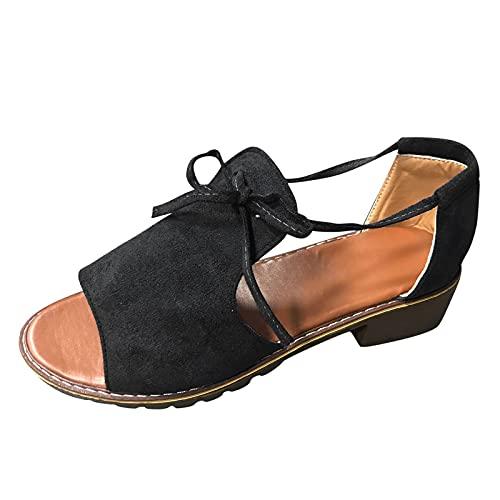 Beudylihy Sandalias de mujer con cuña, cómodas, antideslizantes, de verano, con punta, para el tiempo libre, color Negro, talla 38 EU