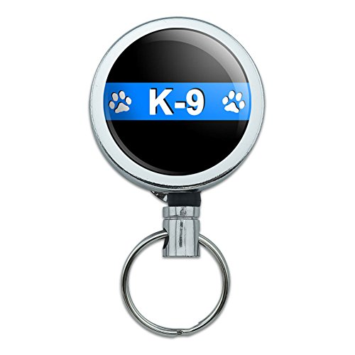 Metal Retractable Reel ID Badge Key Holder with Belt Clip Thin Blue Line Police - K-9 Unit Paw Prints Police