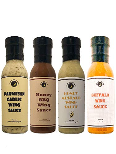 Premium | Chicken WING SAUCE | Variety 4 Pack | TOP SELLERS | Buffalo Wing Sauce | Honey Mustard Wing Sauce | Parmesan Garlic Wing Sauce | Honey BBQ Wing Sauce