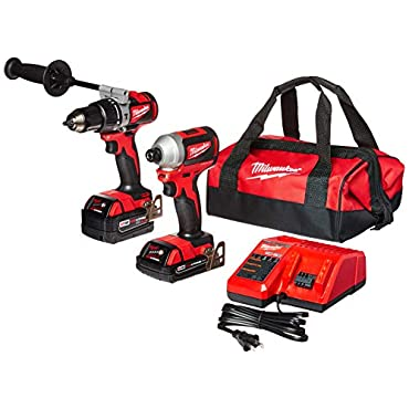 Milwaukee 2893-22CX M18 18V Lithium-Ion Brushless Cordless Hammer Drill/Impact Combo Kit (2-Tool) with 2 Batteries