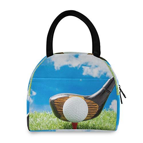 Lunchbags für Frauen Golfball auf rotem Tee mit Fahrer gegen Green Fak Girls Lunch Bag Coole Lunchbags für Frauen Männer Erwachsene College Work Picknick Wandern Strandfischen