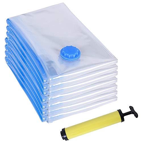 Vakuumbeutel Vakuum-Aufbewahrungsbeutel Platzsparende Kompressionsbeutel für Kleidung und Bettwäsche Reise Vakuum Kleiderbeutel 7 Stück Vakuumbeutel mit Pumpe ,70 x 50 cm