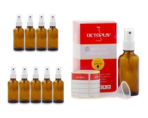 10 x 50 ml Braunglasflaschen mit Fingerzerstäuber, Mini-Trichter + Beschriftungsetiketten, Sprühflaschen mit Lichtschutz, Zerstäuberflaschen mit Pumpsprüher, z.B. für kolloidales Silber oder Parfüm