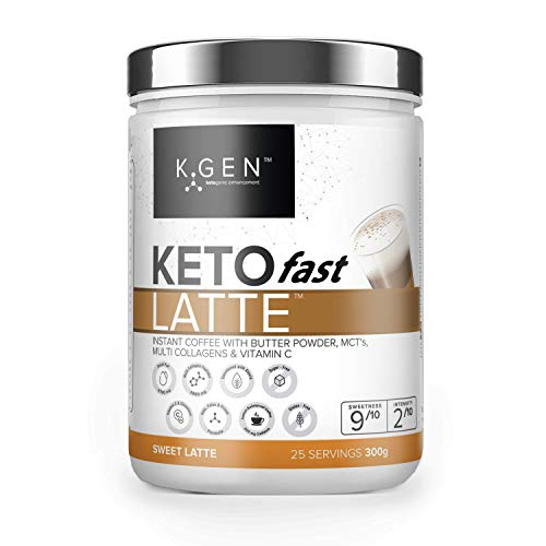 K-GEN KetoFAST Instant Sweet Latte | Keto Coffee Creamer Blended With Multi Collagen, Butter Powder, MCT Oil & Vitamin C | For Keto, Paleo, Fasting & Weight Loss | Sugar-Free, Sweetened with Stevia