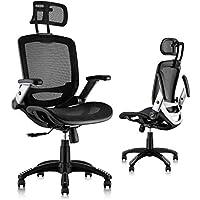 Gabrylly Ergonomic Mesh Office Chair with Flip-Up Arms, Tilt Function, Lumbar Support & PU Wheels
