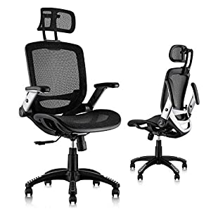 【ERGONOMIC OFFICE CHAIR】- The ergonomic chair provides 4 supporting points(head/ back/ hips/ hands) and a proper lumbar support. It's easy to adjust seat height, headrest, backrest and flip-up arms to meet different needs, good for sitting long hours...