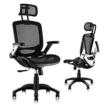 Gabrylly Ergonomic Mesh Office Chair High Back Desk Chair - Adjustable Headrest with Flip-Up Arms Tilt Function Lumbar Support and PU Wheels Swivel Computer Task Chair