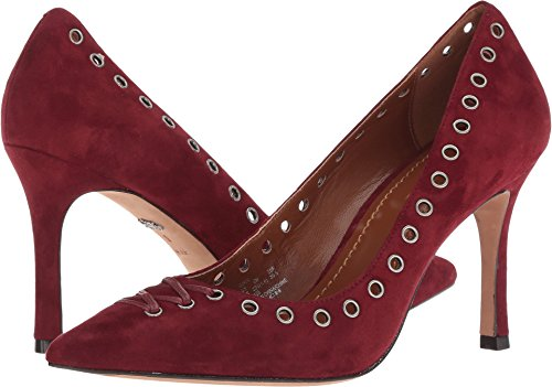 COACH Varick 85mm Lace-Up Pump Merlot Suede 6