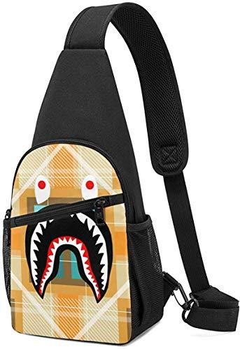 Casual Sling Shoulder Backpack Ipad Casual Carrying Tote Crossbody Travel Bag-ModernOrangePlaidBapeSharkPattern-7.5x15.3x3.3inch(LxHxW)