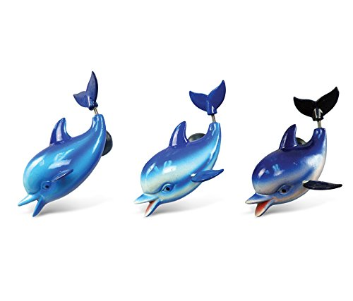 CoTa Global Dolphin Refrigerator Bobble Magnets Set of 3 - Assorted Color Fun Cute Sea Life Animal Bobble Head Magnets For Kitchen Fridge, Lockers, Home Decor, Cool Office Decorative Novelty - 3 Pack