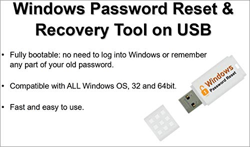 Windows Mot De Passe Réinitialiser / Effacer / Reset / Recovery Clé USB - Compatible Avec Tous Les Windows