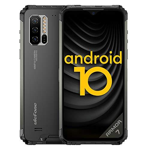 Outdoor Smartphones ohne Vertrag, Ulefone Armor 7 4G Handys Android 10, Helio P90 Octa Core 8GB+128GB, 48MP Kamera, 6,3-Zoll-FHD+, IP68/IP69K Wasserdicht, 5500mAh, Drahtlose Ladung