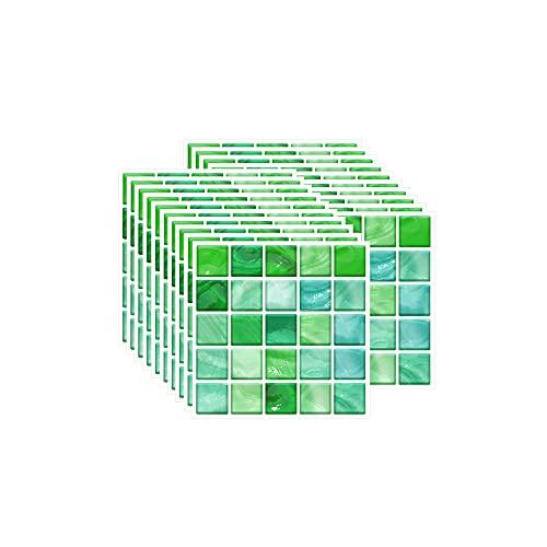 FBBULES 20 Piezas Pegatinas de Pared PVC, Azulejos Adhesivos Resistente Calor Impermeable Protector contra Salpicaduras para Sala Cocina Mosaico Verde (10 x 10 cm / 4 x 4 Pulgadas)