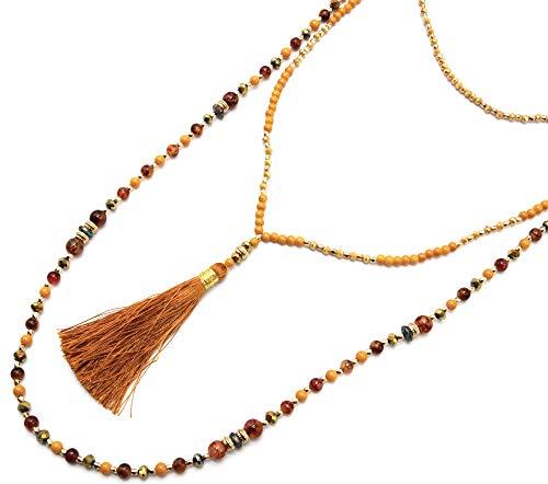 Oh My Shop CL2372F – Collar largo con varias anillas de perlas de cristal y brillantes con pompón mostaza