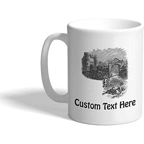 Taza de café personalizada 330 ml Carisbrooke Castles Architecture Taza de té de cerámica Texto personalizado