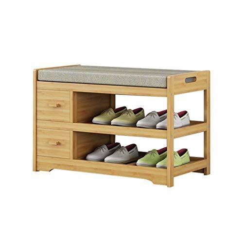 Zapatero de madera maciza de 2 niveles con almacenamiento en el pasillo Zapatero con cojín de asiento extraíble gris Taburete portátil de bambú para cambiar zapatos - 4 tamaños (tamaño: 70x34x45cm)