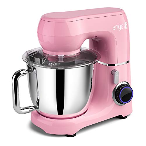 Mini Angel Stand Mixer,10-Speed 5.5QT Kitchen Electric Mixer with DIY Color Stickers,Tilt-Head Food Mixer with Dough Hook, Wire Whisk, Flat Beater, Stainless Steel Bowl - Pink