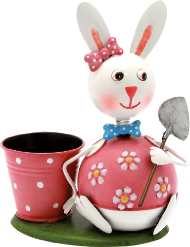 Pot Giardiniera La bunny girl Flora 23 Cm h. en métal verni