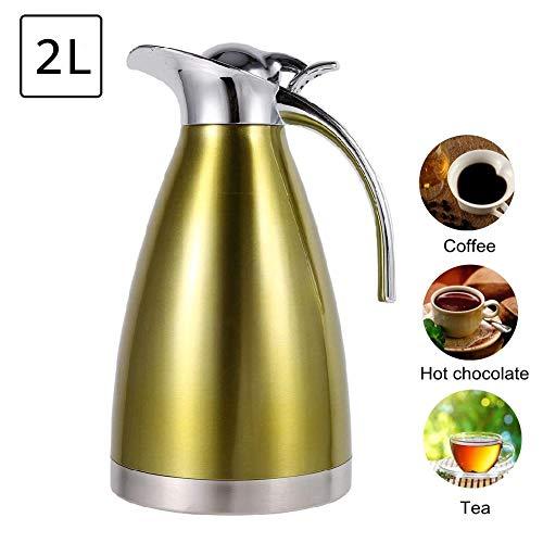 Geïsoleerde vacuümkan, roestvrijstalen koffietheepot van voedingskwaliteit, dubbelwandige, vacuümgeïsoleerde vacuümfles met warmwaterkruik, drukknopontwerp (goud, 2 l)