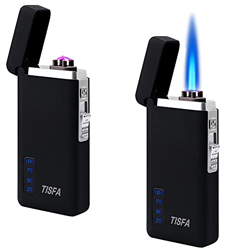 TISFA Dual Arc Electric Lighter Jet Flame Torch Refillable Butane Lighter 2 in 1 Windproof Plasma Portable USB Rechargeable with LED Display Power Lighter