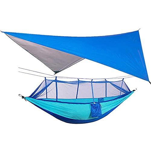 XIEZI Hamaca para Acampar Al Aire Libre Acampar Al Aire Libre Impermeable Hamaca Anti-Mosquitos Pantalla del Cielo Hamaca con Dosel Hamaca con Columpio Aéreo Dos Personas 260 * 140Cm-Azul