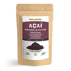 Bayas de Acai Orgánico en Polvo [Freeze - Dried] 50g. Pure Acaí Berry Powder Extracto crudo de la pulpa de la baya de açaí liofilizado. 100% Bio cultivado en Brasil. Superalimento Ecológico.