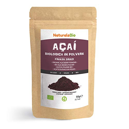 Organic Açai Berries Powder [ Freeze-Dried ] 50g. 100% Brazilian Acai, Lyophilised, Raw. Extract from Acai Berry Pulp. Vegan & Vegetarian Friendly.