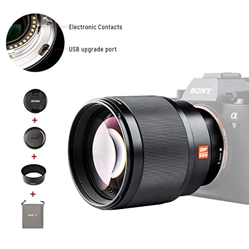 VILTROX 85mm F1.8 Auto Focus Full Frame Lens for Sony E Mount, STM Large Aperture Medium Telephoto Portrait Prime Fixed Focus Lens for Sony A9 A7R3 A7III A7RIII A7M3 A7S2 A6500 A6300