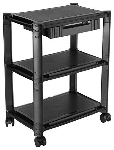 RICOO Rollwagen WM5-L Rollcontainer mit Schublade Bürocontainer Allzweckwagen Druckertisch Erhöhung Modular Podest Trolley Organizer | Schwarz | für ca. 13-32 Zoll (33-81cm)