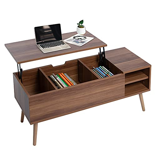 ARMCONE Lift Top Coffee Table for Living Room Mid Century Modern Coffee Table with Storage, Large Rustic Wooden Table with Wood Angled Legs, 43'x16'18', Walnut Brown