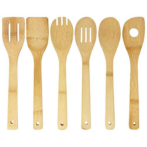 joeji's Kitchen Utensili da Cucina in bambù | Utensili in Legno da Cucina | 6 Utensili in bambù Resistenti ed Eleganti: Cucchiaio, mestolo, schiumarola, mestolo con Fessura, Spork, mestolo con Foro
