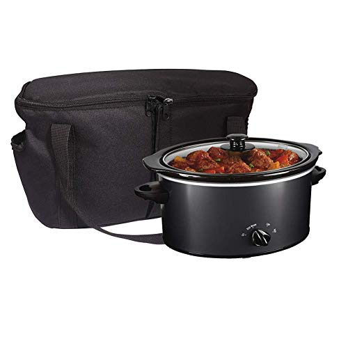 TUXI Slow Cooker Carrier Bags, High Quality Insulated Travel Carrying Bags for Slow Cookers, Storage Tote Bag with Handle and Opening for Rice & Pressure Cookers ,Black, 3 Different Sizes (L:16.5'x8.6'x9.4')