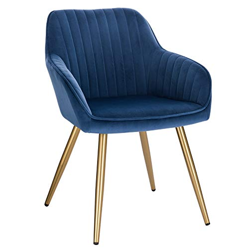 Lestarain Upholstered Dining Chairs, 1 Piece Armchair Kitchen Chair Velvet Seat Gold Metal Legs Reception Chairs with Backrest Soft Cushion - Blue