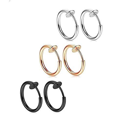 Reccisokz gioielli 3 paia creoles orecchini uomo donna Pinza di orecchio clip anello non-percées Acciaio Inox con sacchetto (-)