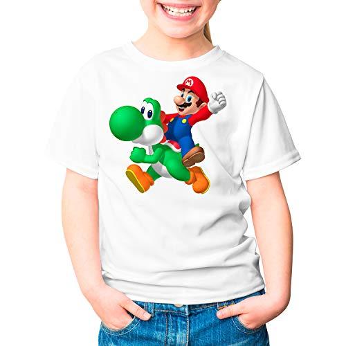 Camiseta Niña Videojuego Mario Bros Yoshi (Blanco, 9 años)
