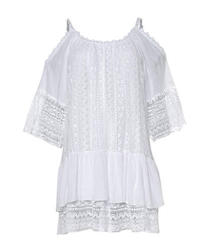 Guess Dalila Dress Vestido Informal, Bianco, S para Mujer