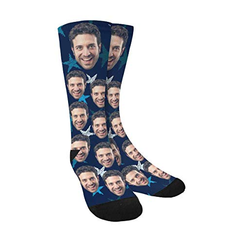Custom Face Socks with Picture Upload, Personalized Socks with Photo Customized Unisex Funny Crew Sock Gifts for Men Women