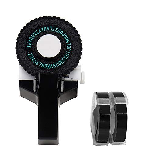 IWILCS 3D Mini Etikettendrucker, Etikettenprägegerät Beschriftungsmaschine, 3D Prägeband Manuelle Etikettiermaschine,für Drucker Schneideband Band, Schwarz