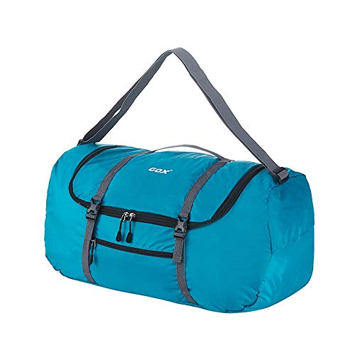 GOX Foldable Travel Duffel Bag Sports Gym Carry On Bag Lightweight Water Resistant Nylon, Luggage Tote Bag For Men & Women 40L(Acid blue)
