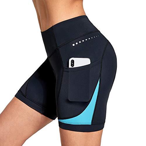 BALEAF Damen 5 Zoll Bike Shorts 4D gepolsterte Taschen Radhose Mountainbike Fahrrad Spin Gel UPF50+ - blau, size: Mittel