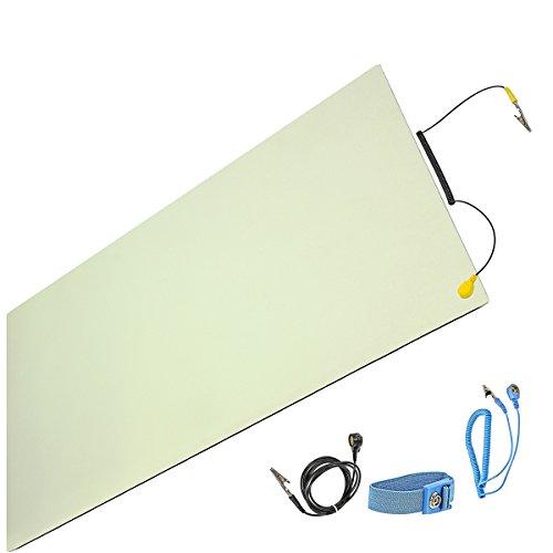 Minadax® ESD Antistatik-Matte 60cm x 120cm - inkl. Manschette + Verlängerung - Professionelle Antistatische Arbeitsmatte - PVC-Matte mit Erdungskabel - Qualität - ESD-Schutz