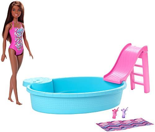 Barbie GHL92 - Pool und Puppe (brünett) Spielset, Puppenzubehör, Spielzeug ab 3 Jahren