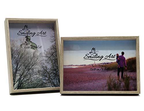 Smiling Art Bilderrahmen Fotorahmen 2er Set aus MDF Holz mit Glasscheibe Querformat und Hochformat zum Aufhängen und Aufstellen (Braun, 2 * 13x18 cm)
