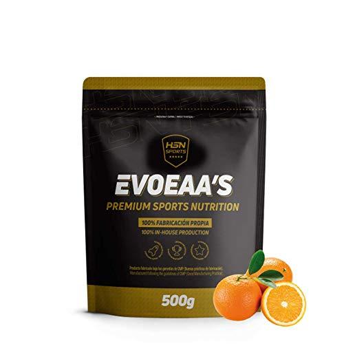 HSN Sports Aminoácidos Esenciales en Polvo EvoEAAs | Essential Amino Acids | para Ganar Masa Muscular, Recuperador Muscular | Vegano, Sin Gluten, Sin Lactosa, Sabor Naranja, 500 gr