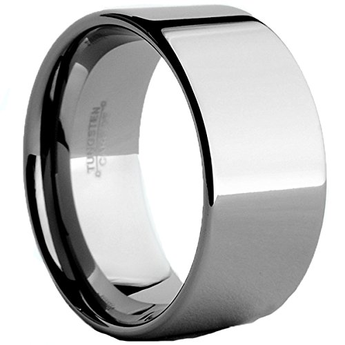 Metal Masters Co. Tungsten Carbide Wide Wedding Band Men's Ring Comfort Fit, 12MM Size 14