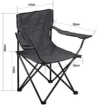 BRAVO HOME Chaise de Camping Pliante en Acier 50x50x80cm - Chaise Portable Design léger avec Porte-gobelet - Comprend Un Sac de Transport - Idéal pour l'extérieur (Noir, 1 Chaise)