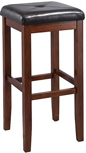 Crosley Furniture Upholstered Square Seat Bar Stool (Set of 2), 29-inch, Vintage Mahogany