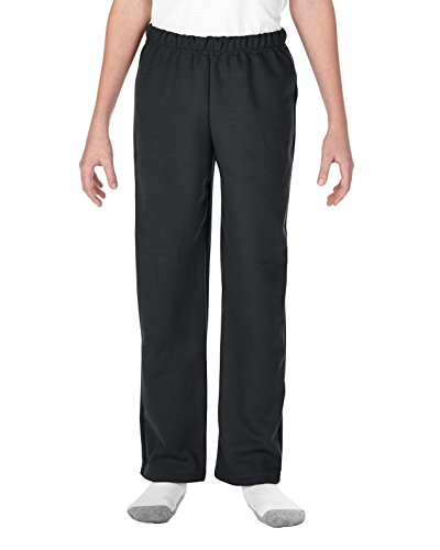 Gildan Youth Open Bottom Sweatpants, Style G18400B, Black, Medium